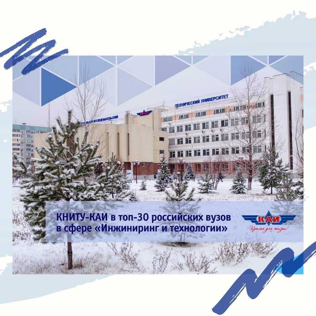КНИТУ-КАИ в топ-30 российских вузов в сфере «Инжиниринг и технологии»